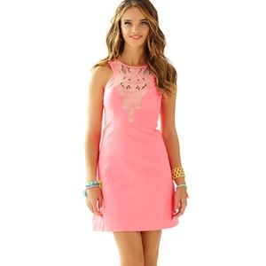 LILLY PULITZER CORAL PINK CUT OUT GOLD DRESS 6